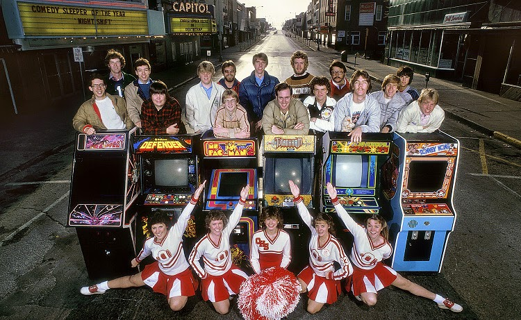 1982: Welcomed by Ottumwa High cheerleaders, 16 all-stars - ages 14 to 30 - gather on Main Street behind six of the top video games in the U.S.