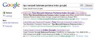 Cara cepat blog terindex google