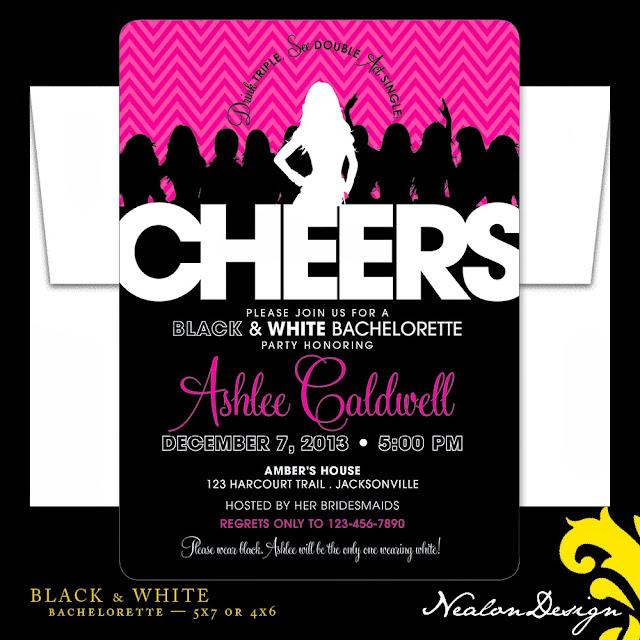 Nealon design black white bachelorette party for Good places for bachelorette parties