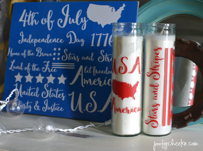 DIY Patriotic Dollar Store Candles + Free Silhouette Cut File
