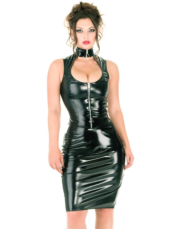 Black latex lingerie