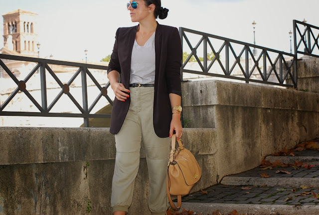 Gucci belt, BCBGmaxazria blazer, Zara cropped pants, Joe Fresh T-shirt, Coach Legacy handbag and gold Aldo shoes.
