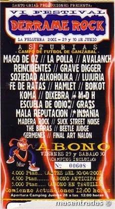 entrada festival derrame rock 2001