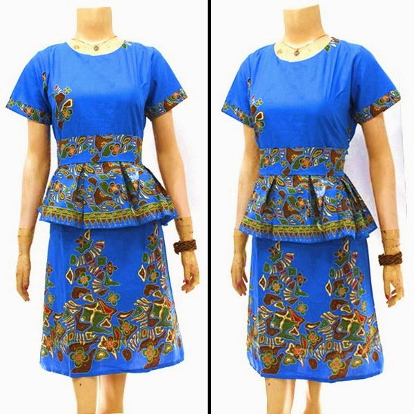 Model Modern Dress Syahrini Batu Biru Batik