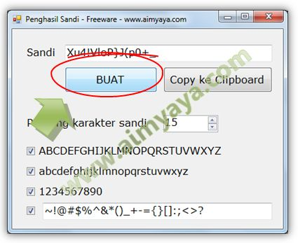 Gambar: Running aplikasi Penghasil Sandi (Password Generator) Versi Visual Basic (VB)