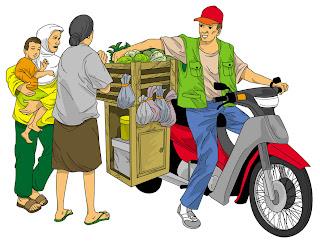 Ilustrasi penjual sayuran