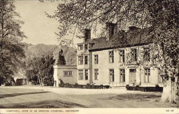 balck and white postcard of Chartwell