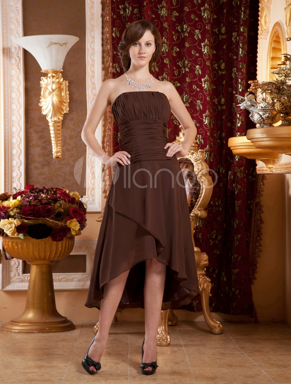 China Wholesale Dresses - Attractive Strapless Chiffon Summer Prom Homecoming Dress
