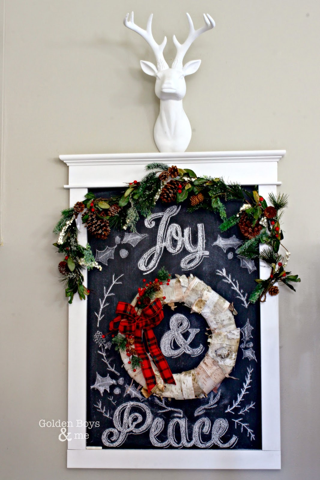 Christmas chalkboard art with wreath on DIY chalkboard-www.goldenboysandme.com