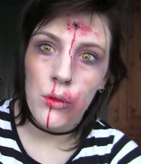 bullet wound zombie Halloween makeup tutorial for girls