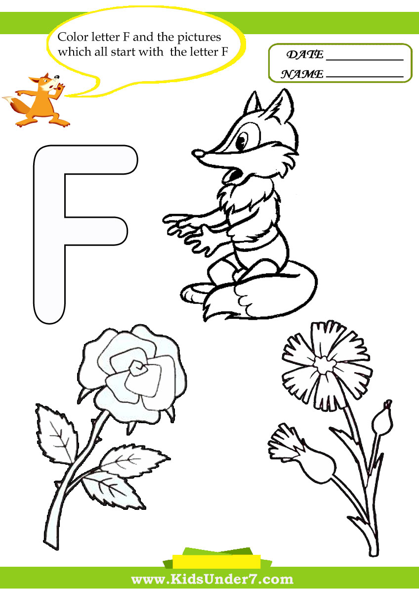 Kids Under 7: Letter F Worksheets and Coloring Pages