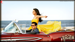 Hot Katrina Kaif and Salman Khan in car HD Wallpaper from Ek Tha Tiger