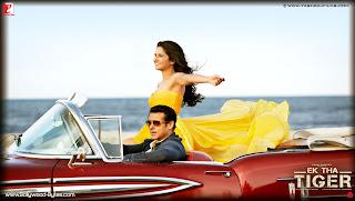 Hot Katrina Kaif and Salman Khan in car HD Wallpaper from Ek Tha Tiger