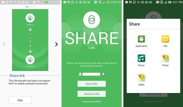 Fasilitas Share Link pada Zenfone