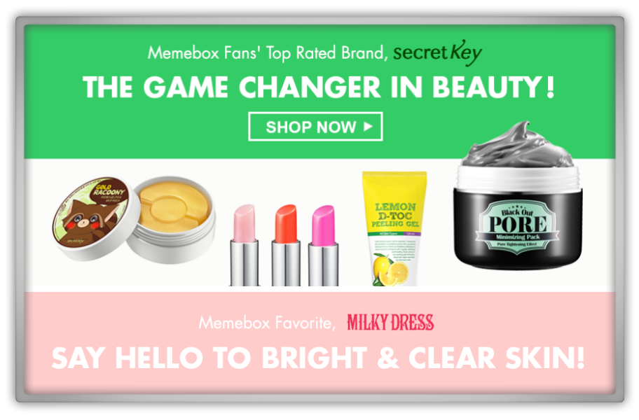 memebox 미미박스 Commercial secret key secretkey milkydress milky dress cosmetics skincare sale makeup discount