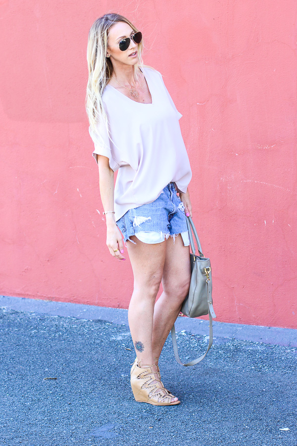 heels with denim shorts
