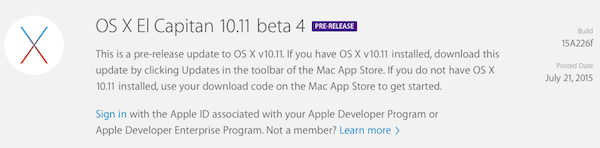 OS X El Capitan 10.11 beta 4