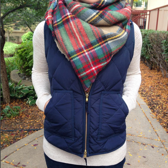 blanket scarf with a puffer vest
