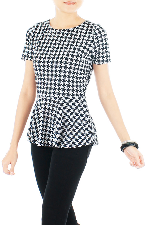 Houndstooth Peplum Blouse with Sleeves