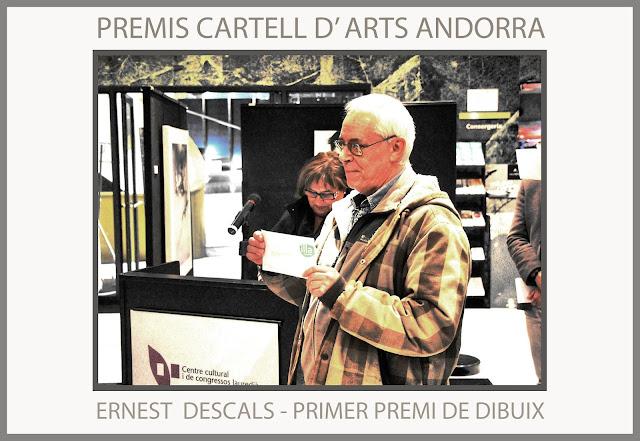 PREMIS-CARTELL-ARTS-ANDORRA-ILLA CARLEMANY-PRIMER-PREMI-DIBUIX-ARTISTA-PINTOR-ERNEST DESCALS-MANRESA