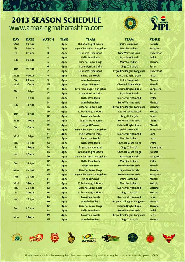 IPL 2013 SCHEDULE