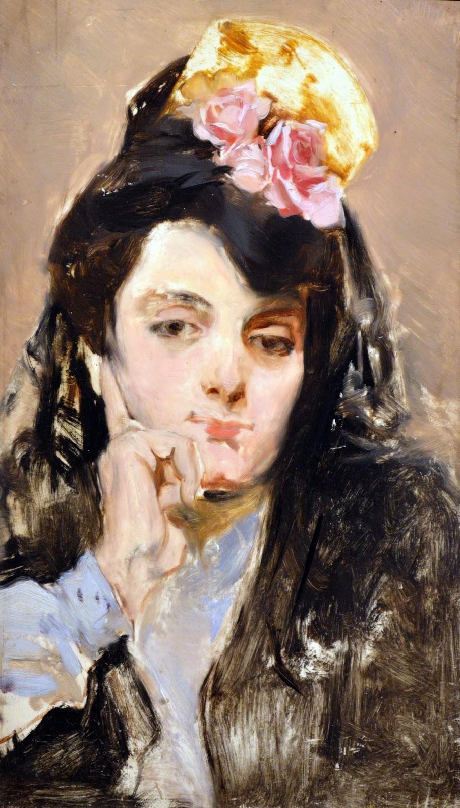 Mujer mantilla negra, Joaquín Sorolla,retratos