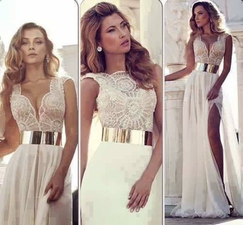 beautiful long dress with lace V-Neck shirt
