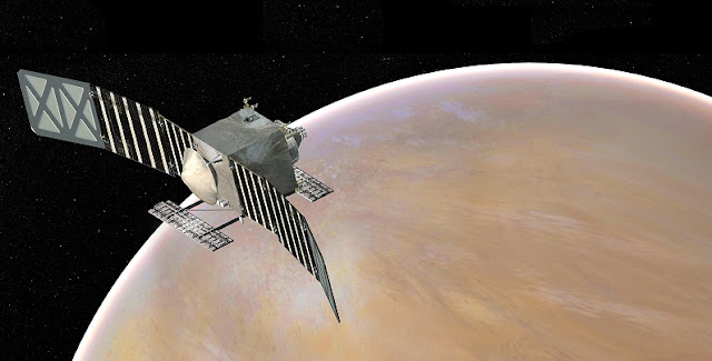 Artist's concept of the Venus Emissivity, Radio Science, InSAR, Topography, and Spectroscopy (Veritas) spacecraft, a proposed mission for NASA's Discovery program. Image credit: NASA/JPL-Caltech