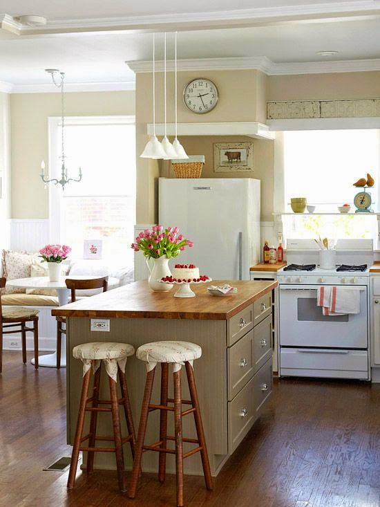Las 19 islas de cocina vintage que te encantar a tener en tu casa - Charming small kitchen table ideas eat kitchen plan ...
