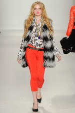 coral pants, black, white, faux fur, striped vest, new york fashion week,