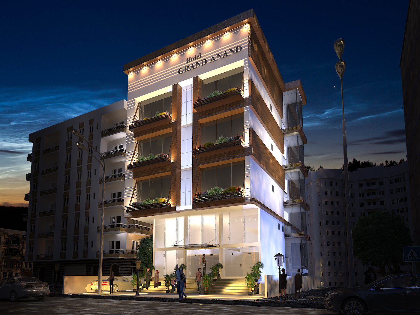 Hotel grand anand exterior design shyam clement for Grand designs hotel