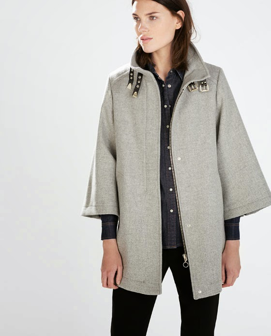 grey coat with buckles