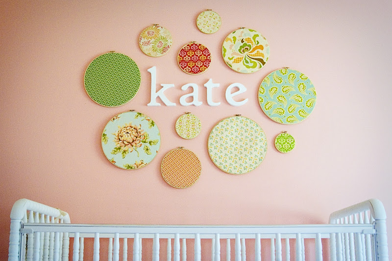 How sweet and charming is this nursery wall?? title=