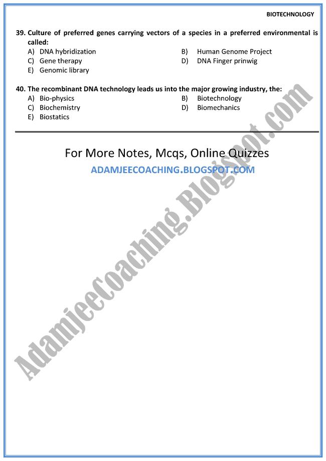Biology Mcqs XII - Biotechnology - Mcqs