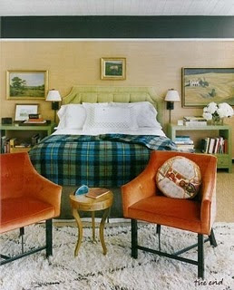 warm masculine room, masculine bedroom, tailored bedding, warm interiors, art in the bedroom