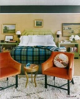 warm masculine room, masculine bedroom, tailored bedding, warm interiors, art in the bedroom