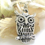 Horned Owl Antique Silver Necklace via Etsy
