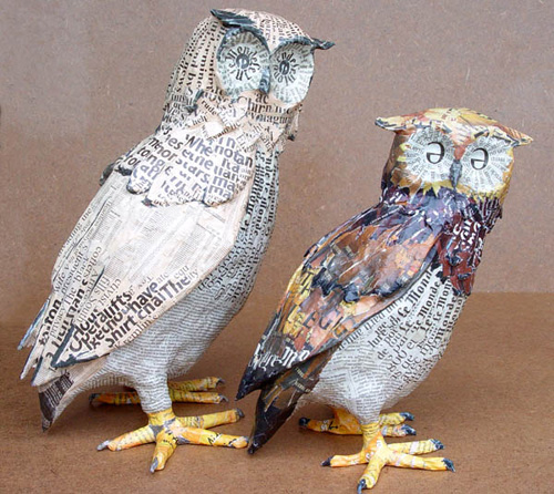 my owl barn paper mache sculptures by aude goalec nicole jacobs. Black Bedroom Furniture Sets. Home Design Ideas