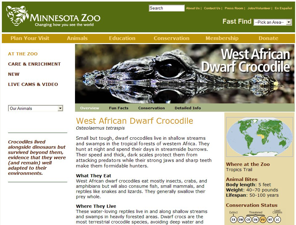 Minnesota Zoo Exhibit and Website