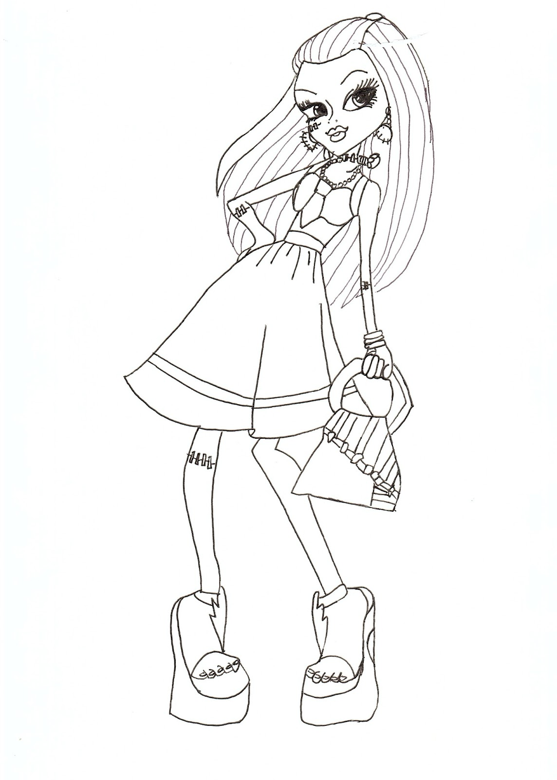 Free printable monster high coloring pages frankie for Fashion coloring pages