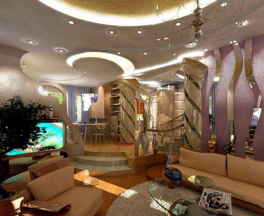 gypsum ceiling model of contemporary luxury living room