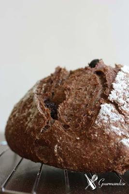 gourmandise pão aveia, cacau e passas levain