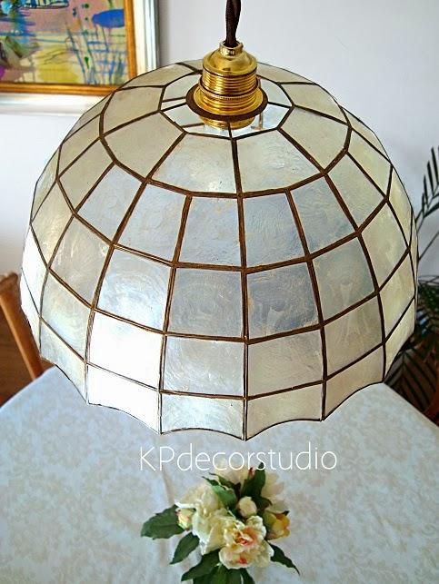 Lámpara de techo vintage tipo tiffany con pantalla de nácar auténtico