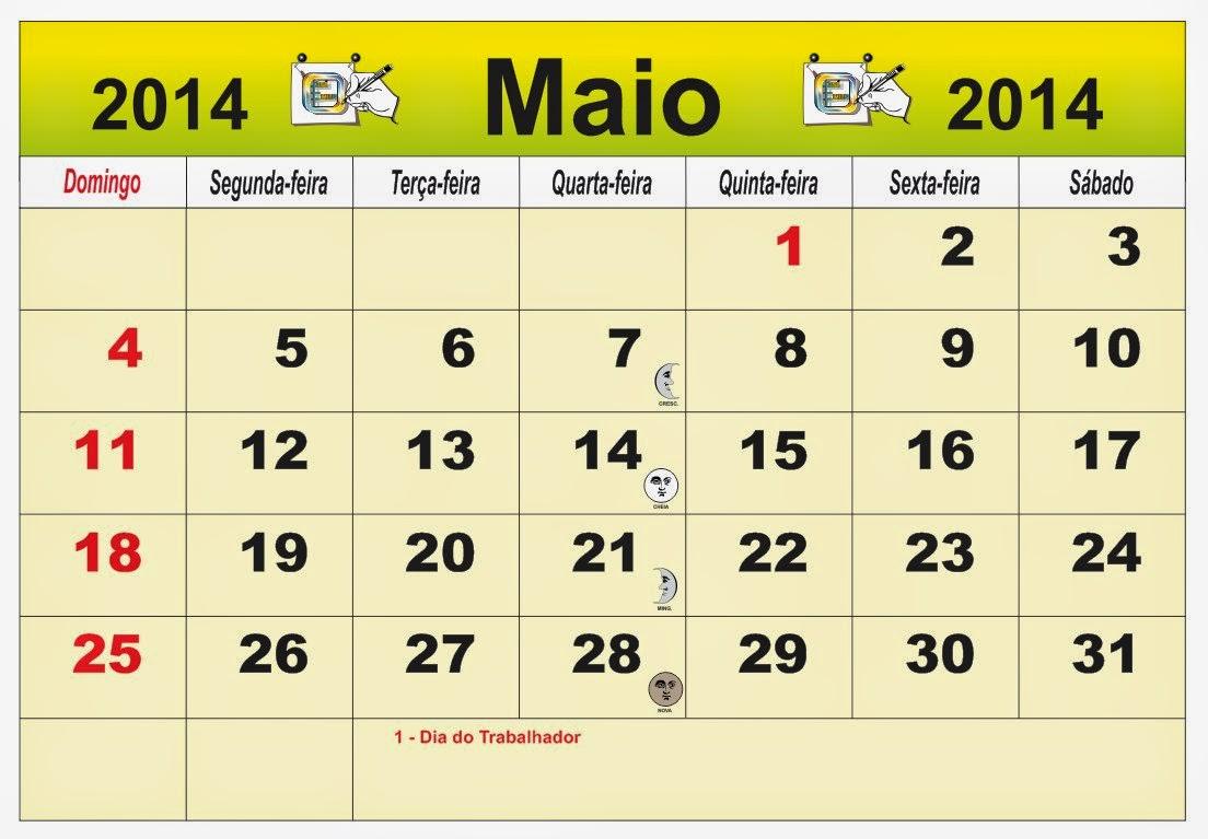 ... Brasil do mês de Maio 2014, com as fases da lua e feriados nacional