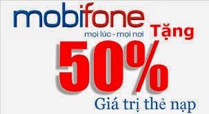 Nạp thẻ Mobifone duy nhất hôm nay 03/02/2015 tặng 50%