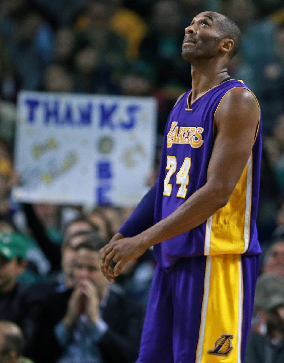 A fan in the crowd at TD Garden held up a sign dedicated to Los Angeles's Kobe Bryant