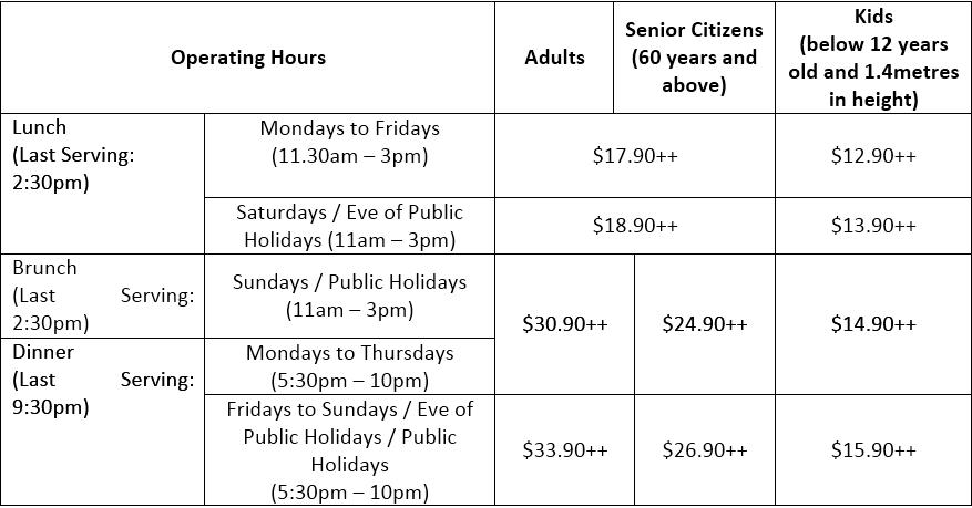 Sakura Buffet Singapore Prices