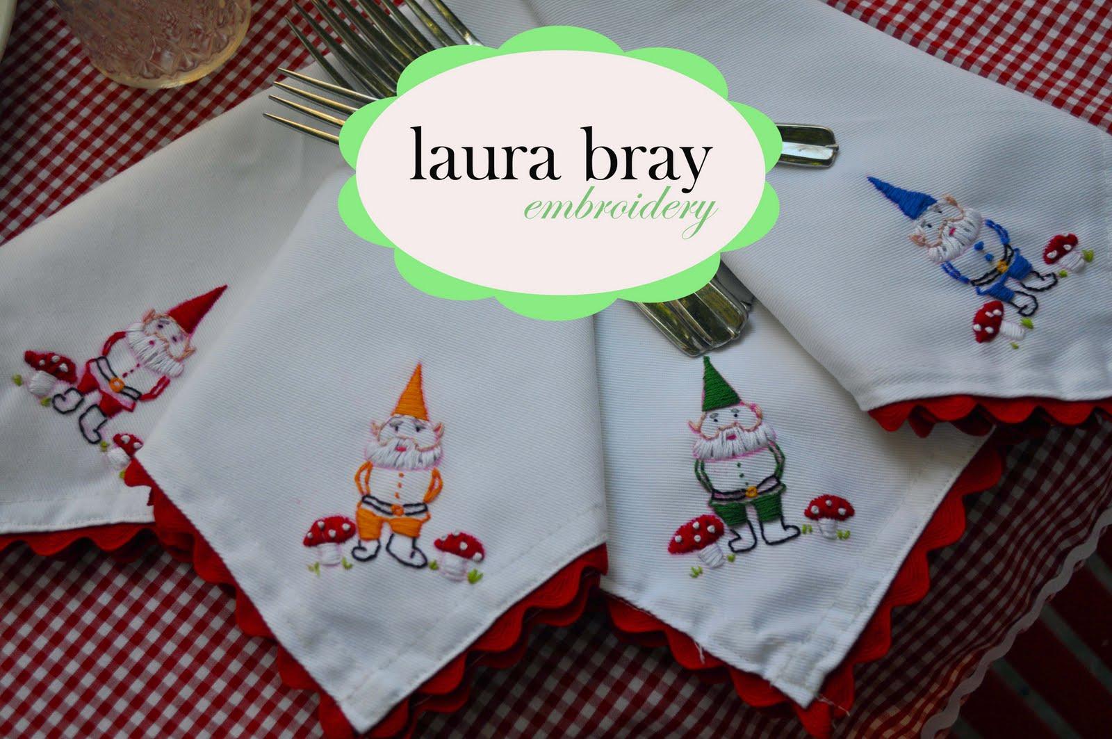 Embroidered gnomes napkin tutorial laura k bray designs
