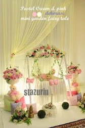 Hiasan Pelamin Buaian Berendoi Cukur Jambul Tema Warna Pastel Cream Pink  2012&2013