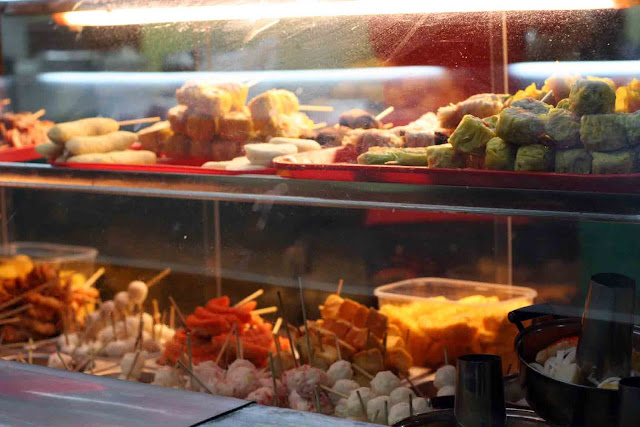 Street Food inside a glass display